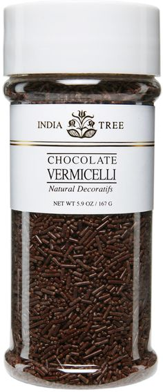INDIA TREE NATURAL CHOCOLATE VERMICELLI (TALL JAR) INDIA TREE's Natural Chocolate Vermicelli may be used to decorate candy, cakes, cookies and ice cream. It is also great with coffee. Sprinkle it over a cappuccino, a latte or an espresso topped with whipped cream. Or serve it in a glass bowl on a coffee condiment tray.