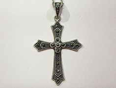 Sterling Silver Marcasite Cross Pendant by COBAYLEY on Etsy, $38.00  #Etsy #Marcasite #Silvercross