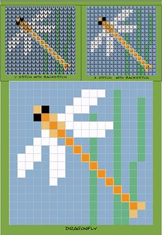 Ravelry: Pocket pet Dragonfly Chart pattern by Melanie Nordberg Bead Loom Patterns, Beading Patterns, Cross Stitch Patterns, Knitting Charts, Knitting Patterns, Cross Stitching, Cross Stitch Embroidery, Dragonfly Cross Stitch, Motifs Perler