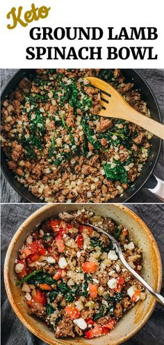 This is a healthy ground lamb bowl perfect for keto and low carb diets, with spinach, feta cheese, tomatoes, and cauliflower rice. Inspired by Mediterranean, Greek, and Middle Eastern cuisine, it is similar to a gyro bowl.