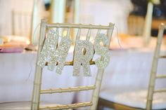 Mr and Mrs Wedding Chair Sign for Wedding Sweetheart by ReynaBLANK