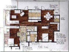 Interior Design For Bathroom Interior Design Sketches, Interior Rendering, Cafe Interior, Architecture Drawings, Architecture Plan, Rendered Plans, Planer Layout, Plan Sketch, Restaurant Design