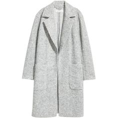 H&M Wool-blend Coat $39.99 (€33) ❤ liked on Polyvore featuring outerwear, coats, h&m coats, light grey coat and wool blend coat