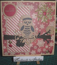 Festive Bird die by Die-Namites. North Pole paper pad by Dovecraft (Trimcraft). Greeting by Craftwork Cards.