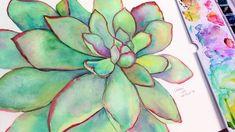 You can paint this! Watercolor Succulents, Watercolor Cactus, Succulents Painting, Kids Watercolor, Watercolor Paintings, Fabric Painting, The Frugal Crafter, Watercolour Tutorials, Watercolor Techniques