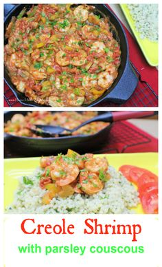 Shrimp cooked up in garlic, tomatoes, celery, bell peppers and onions. Great main dish or can even be used as a salsa. Paired with parsley couscous