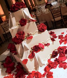 Brides: Round Wedding Cake with Red Rose Petals. Perfect Endings bakery concocted this rose petal%u2013covered confection.