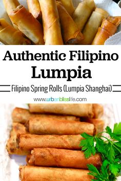 Filipino Lumpia are crispy, delicious Filipino egg rolls that are perfect to serve at parties. They also freeze well and are perfect to make for snacks, lunch, dinner, or for last minute guests! Easy Lumpia Recipe, Lumpia Recipe Filipino, Filipino Recipes, Asian Recipes, Filipino Egg Rolls, Yummy Appetizers, Appetizer Recipes, Comida Filipina, Phillipino Food