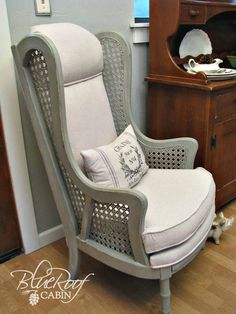 blue roof cabin: Chair Makeover using Drop Cloth