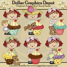 Little Annie - Loves Cupcakes - Clip Art