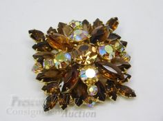 Vintage Rhinestone Costume Jewelry Pin Brooch