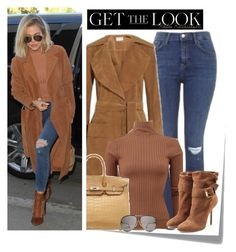 """Get the Look: Khloe Kardashian"" by dora04 ❤ liked on Polyvore featuring Topshop, Frame Denim, STELLA McCARTNEY, Hermès, Burberry, Porsche Design, women's clothing, women's fashion, women and female"