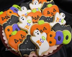 Decorated Mini Mix - Halloween Decorated Cookies - Ghosts - Bats - Pumpkins and BOO - Cookie Favors - 2 DOZEN