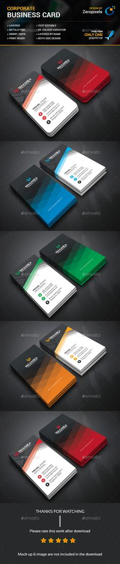 Corporate Business Card — Photoshop PSD #business card #graphic • Available here → https://graphicriver.net/item/corporate-business-card/17656887?ref=pxcr