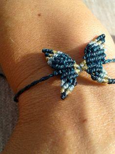 Macrame BUTTERFLY for bracelet or anklet 6 by WabiSabiMacrameArt