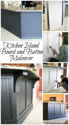 Kitchen island makeover with board and batten! Kitchen island makeover with board and batten! Architecture Renovation, Home Renovation, Bathroom Renovations, Kitchen Island Makeover, Island Kitchen, Kitchen Board, Kitchen Makeovers, Kitchen Island Upgrade, Kitchen Upgrades