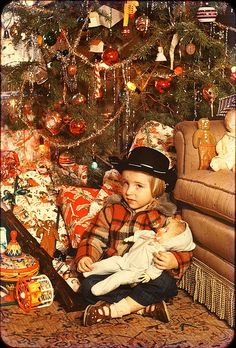 Little Girl with a BIG Christmas - about 1955 - Color Slide by Mike Leavenworth, via Flickr