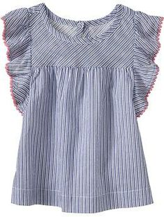 Striped Picot-Trim Tops for Baby   Old Navy #sewinginspiration