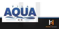 Logo design and business cards for Villa Aqua, a holiday resort in Eforie Sud, Romania.