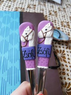 horses, fimo, dessert fork and spoon