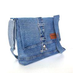 Denim messenger bag, borsa a tracolla di jeans riciclati, sacchetto del computer portatile, borsa a tracolla vegano, uomo Messenger bag donna messenger, jean scuola borsa