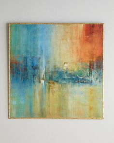 """John-Richard Collection Blue Cascade Abstract - From the John-Richard Collection. Handcrafted and hand painted. Deckled-edge print adhered to wood composite panel with 1"""" ogee edge. Broken gold-leaf finish on deckled and ogee edges. 36""""Sq. x 2""""D. Imported of domestic materials. Boxed weight, approximately 38 lbs."""