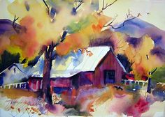 barns in watercolor painting | painting wood textures in watercolor step by step…