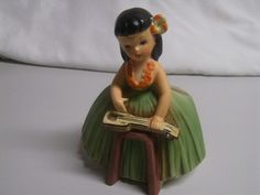 Vintage 50s Napco Ceramic Hawaiian Hula Girl Figurine Planter JAPAN