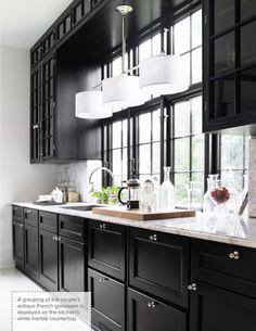 Glossy black cabinets