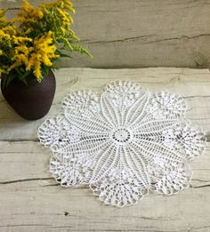 White Crochet Lace Doily Large Crochet Doily by DoliaGalinaCrochet
