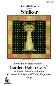Stalker Garden Patch Cats Quilt Block Pattern - only $7.99 in my store:  http://lisasstitchingpost.com/product_info.php?cPath=129_131_72_63&products_id=429 #gardenpatchcats #stalkercat #celerystalk #heleneknott #storyquilts #vegetablecats #catquiltpattern #celerycatpattern #gardencats