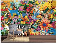 3d wallpaper custom 3d murals wallpaper mural Animals wall Retro hand-painted zebra flowers background wall murals home decor