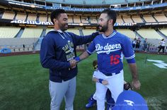 Matt Kemp and Andre Ethier.  Pic via Jon SooHoo/LA Dodgers ...  **  Dodgers Blue Heaven: Blog Kiosk: 10/3/2015 - Dodger Links - McCarthy, Greinke and Matt Kemp