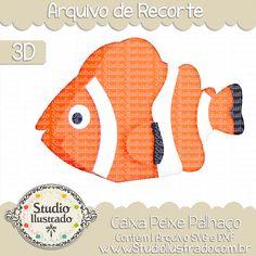 Caixa Peixe Palhaço, Caixa Peixe Palhaço, Caixa, Peixe, Palhaço, nemo, dory, dori, procurando nemo, finding nemo, Clownfish Box, Clownfish, Box, projeto 3d, boxes, box, arquivo de recorte, caixa, 3d,svg, dxf, png, Studio Ilustrado, Silhouette, cutting file, cutting, cricut, scan n cut.