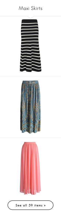"""""""Maxi Skirts"""" by wishlist123 ❤ liked on Polyvore featuring maxiskirt, skirts, long knit skirt, black and white stripe maxi skirt, flared skirt, flared maxi skirt, black and white stripe skirt, floor length skirt, long blue skirt and long skirts"""