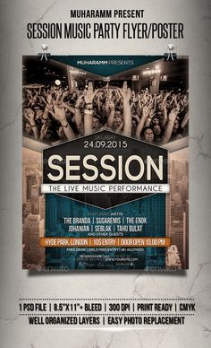 Session Music Party Flyer / Poster Template PSD #design Download: http://graphicriver.net/item/session-music-party-flyer-poster/14106688?ref=ksioks