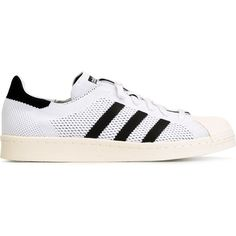 Adidas Originals Superstar 80s Primeknit Sneakers ($98) ❤ liked on Polyvore featuring shoes, sneakers, white, lace up sneakers, lace up flat shoes, 80s fashion, flat shoes and white lace up shoes