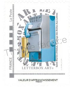 """Timbre LetterboxArt©: Boîte aux lettres """"Téléphone"""" à Saint-Martin-d'Abbat."""