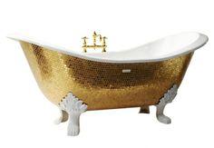 Esta bañera es de color amarillo oro y blanco de cerámica para el cuarto de baño