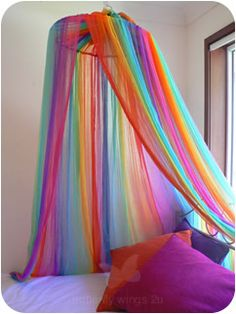 Ideas Bedroom Diy Canopy Reading Corners For 2019 Rainbow Bedding, Rainbow Bedroom, Rainbow Room Kids, Unicorn Rooms, Unicorn Bedroom, Diy Canopy, Canopy Bedroom, Canopy Tent, Rainbow Decorations