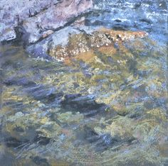 Caribou Creek Study by Sharon Bamber, 6 x 6 pastel painting of water and rocks