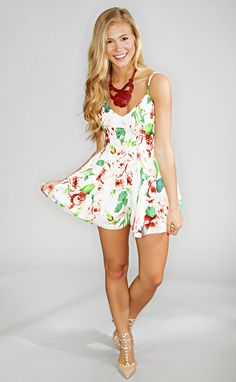 hey flare floral romper - ivory from ShopRiffraff.com