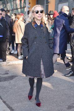 Franca Sozzani Photos - Franca Sozzani is seen at the Giorgio Armani Show during the Milan Menswear Fashion Week Fall Winter 2015/2016 on January 20, 2015 in Milan, Italy. - Giorgio Armani Runway Show