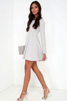 Pretty Light Grey Dress - Long Sleeve Dress - Beaded Dress - $59.00