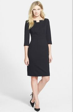 Classiques Entier® Notch Neck Ponte Sheath Dress available at #Nordstrom
