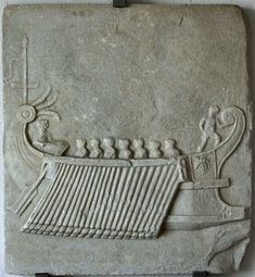 Relief with a trireme. Fine-grained marble with grey veins. Last decades of the 1st cent. BCE. Baia, Archaeological Museum of the Phlegraean Fields. (Photo by I. Sh.).