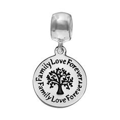 "Individuality Beads Sterling Silver ""Family Love Forever"" Family Tree Disc Charm"