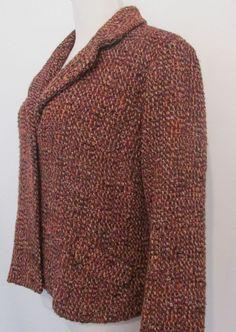 J JILL Sz 10 Petite Brown Tweed Coat Jacket Purple Orange Fully Lined Wool Blend #JJill #BasicCoat