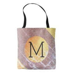 Elegant Faux Pink&Gold Glitter Craquelure Monogram Tote Bag - faux gifts style sample design cyo