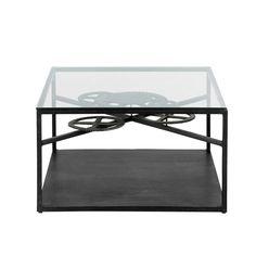 Table basse indus noire ROUAGE 80x80